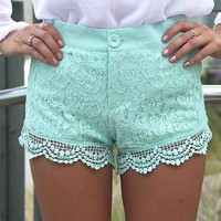 Mint Paisley Lace Overlay Shorts with Crochet Trim