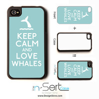 NEW Keep Calm And Love Whales n-Sert iPhone 4, 4s, 5 Case with Changeable Inserts