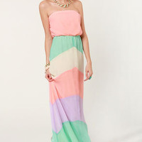 Place Your Sherbets Strapless Maxi Dress