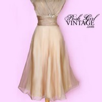 1950's Light Beige Organza Tea Length Dress vintage wedding dress dresses :