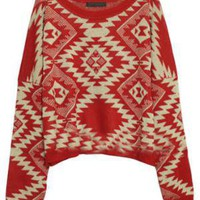 Totem Pattern Loose Red Jumper [NCSWQ0297] - &amp;#36;48.99 :