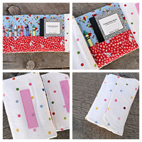 Girl's Crayon Wallet, Lots of Dots/Cherry Picking, Vintage-Inspired Fabric, Stocking Stuffer, Quiet Time Take-Along Toy, READY-TO-SHIP