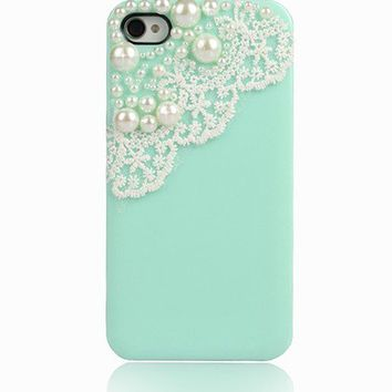 Cute Mint Green Pearl Cute Lace Deco Ice Cream Case Cover for iPhone 4 4G 4S