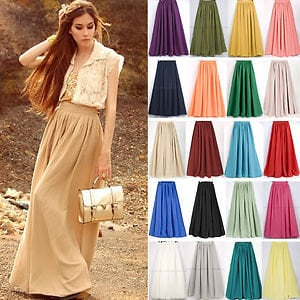Sexy Elegant Double Chiffon Pleated Long Maxi Elastic Waist Band Dress Skirt