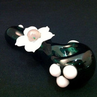Lake Green Glass Pipe With Pink Petal Flower with Encased Opal Center Tobacco Spoon Pipe