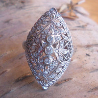 Diamond Engagement Ring Vintage 18k White Gold Filigree