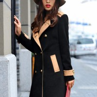 Fashionable Double Breasted Women Woolen Trench Coat Black  -  BuyTrends.com
