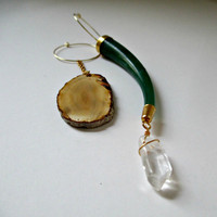 Asymmetrical Boho Hoop Earrings. Agate Slice, Quartz Point And Vintage Horn