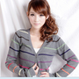 Colorful Stripes V-neck Long Sleeve Button-down Cardigan Women Sweater Gray  -  BuyTrends.com