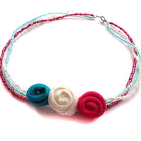 Childrens Beaded Necklace with Blue, White and Pink Textile Roses