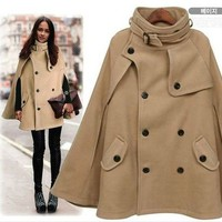Women Wool Blend Mantle Coat Double-breasted Poncho Cape Jacket Brown 10W