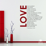 Love Is Patient (Love Chapter) Wall Decal Quote - Vinyl Text Wall Words Stickers Art