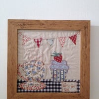 time for tea, rustic wood textile art