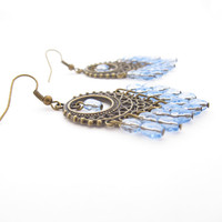 Boho Chandelier Earrings With Blue Beads