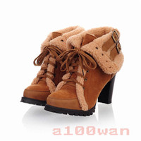 Womens Fashion Lace Up High Heel Shoes Platform Warm Ankle Boot 4Colours Sz34-43
