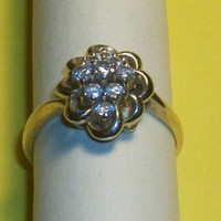 Vintage Estate Fine Jewelry - Nine Diamond Cocktail Ring 1/2 cttw 14kyg