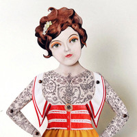 Victorian Tattooed Lady Paper Puppet Doll
