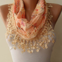 Light Tangerine Scarf with Same Color Trim Edge - Flowered Fabric