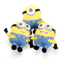 "DESPICABLE ME 2 SET OF THREE (3PCS) 3D EYE MINION 9"" QUALITY PLUSH TOY"