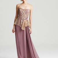 Badgley Mischka Gown - Lace Overlay | Bloomingdale's
