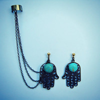 hamsa ear cuff, hand of fatima, ear cuff with chains, turquoise earrings, chains ear cuff, hamsa chain cuff, hamsa hand earrings