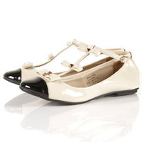 MAGGIE Patent Bow T-bar Shoes - Flats  - Shoes