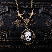 Skeleton Lady Cameo Necklace- Brass and Black - $28.00 : RagTraderVintage.com, Handmade Indie Retro Accessories