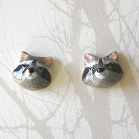woodland animal earrings raccoon by HandyMaiden on Etsy