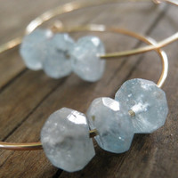 HOLIDAY SALE Faceted Aquamarine Hoops Earrings by AnnalisJewelry