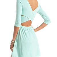 Crisscross Back Solid Skater Dress: Charlotte Russe