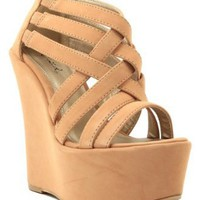 Amazon.com: Qupid Kunis-10 Strappy Open Toe Platform Wedge NUDE (FREE SHIPPING on all add'l items) (8.5): Shoes