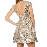 Jazzy-Gold Sequin Prom Dress