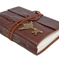 Brown Leather Journal with Winged Clock Key Bookmark