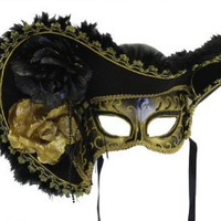 RedSkyTrader - Black and Gold Female Masquerade Ball Pirate Mask - Venetian - One Size fits Most - Black: Clothing