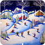 DENY Designs Home Accessories | Renie Britenbucher Winter Skiing Fun Custom Clock