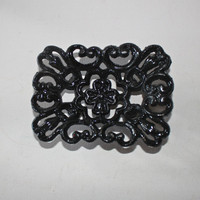 Black Soap Dish/ Business Card Holder/ Hand Painted Cast Iron/ Flower Design/ Office, Desk, Bathroom, Kitchen Decor/ Decorative Shabby Chic