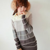 High Collar Color Splicing Ladies Sweaters Gray : Wholesaleclothing4u.com