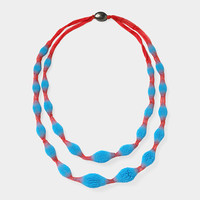 Silicone and Silk Beaded Necklace