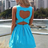 Blue Heart Cutout Dress with Fitted Bodice &amp; Pleated Skirt