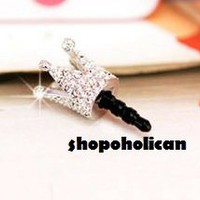iPhone iPad Silver Crown Crystal Cell Phone charm Anti Dust Earphone Jack NEW