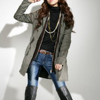 Fashion Plus Size Army Green Belted Coats : Wholesaleclothing4u.com