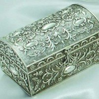 ANTIQUE SILVER CHEST BOX WITH FLORAL DESIGN: Home & Kitchen