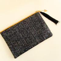 Speckle Black/White Zipper Pouch Clutch,  Zipper Clutch, iPad Case, Statement Clutch, Upholstery, Clutch Bag