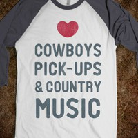 Cowboys Pickups & Country Music (Baseball Tee)