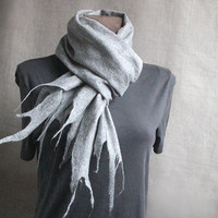 men wool felted scarf LIGHT GRAY winter felt scarf warm women men scarves