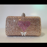 Luxury Champagne Clutch bag with Lialc Rose Heart by MDNY