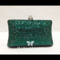 Luxury evening Emerald Crystal clutch bag by MDNY