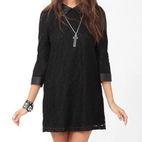 Faux Leather Trim Lace Dress