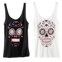 New Womens European Fashion Flower Skull Sleeveless Shirt 2 Colors
