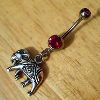 Belly Button ring - Elephant and dark pink Gem Belly Ring